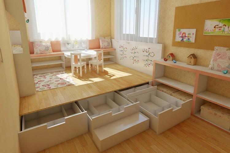 Функциональный подиум - Дизайн маленькой детской