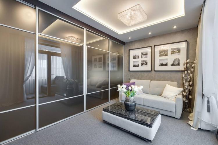 Оригинальное оформление потолка - Дизайн маленькой гостиной