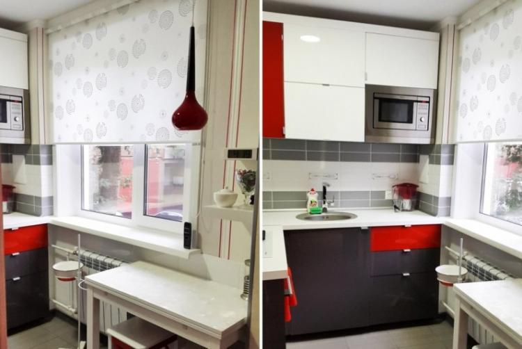 Легкое оформление окна - Дизайн маленькой кухни
