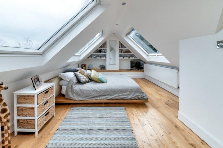 Дизайн спальни в мансарде - фото