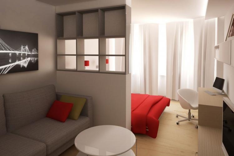 Статичные перегородки - Зонирование однокомнатной квартиры 40 кв.м.