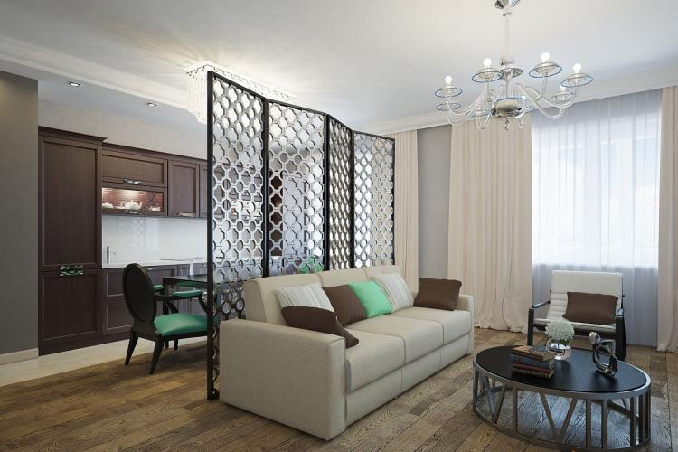 Ширмы и передвижные перегородки - Зонирование однокомнатной квартиры 40 кв.м.