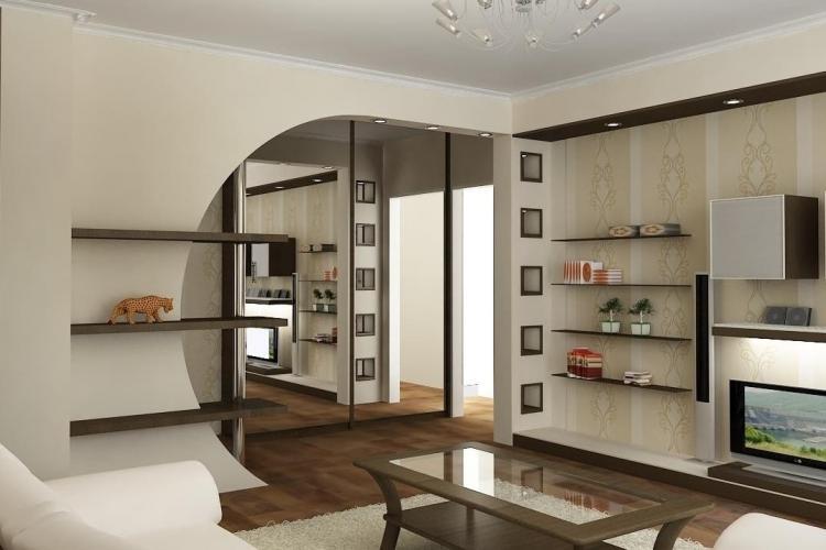 Арки и гипсокартонные конструкции - Зонирование однокомнатной квартиры 40 кв.м.