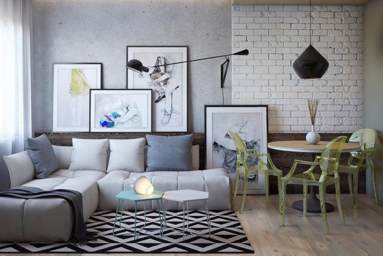 Отделка стен - Дизайн однокомнатной квартиры 40 кв.м.