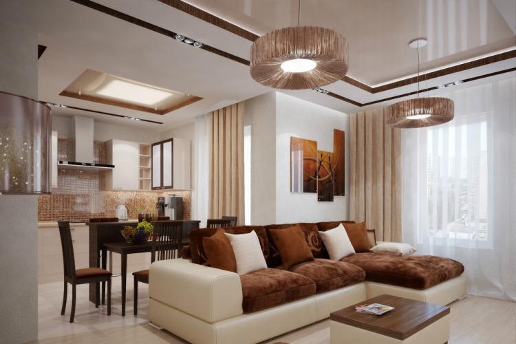 Отделка потолка - Дизайн однокомнатной квартиры 40 кв.м.