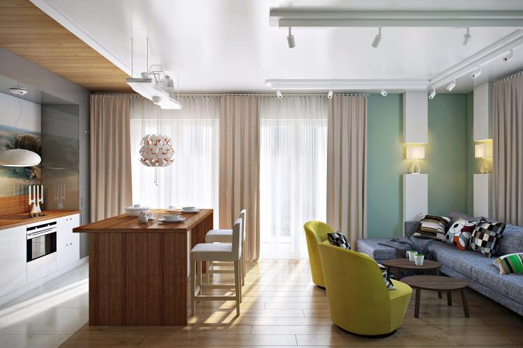 Расстановка мебели - Дизайн однокомнатной квартиры 40 кв.м.