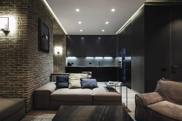 Темные тона - Цветовая палитра для однокомнатной квартиры 40 кв.м.