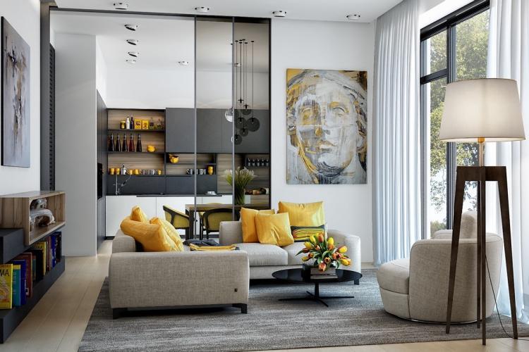 Яркие акценты - Цветовая палитра для однокомнатной квартиры 40 кв.м.