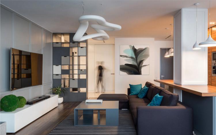 Современный стиль - Дизайн однокомнатной квартиры 40 кв.м.