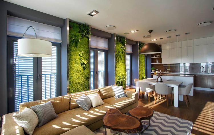 Эко-стиль - Дизайн однокомнатной квартиры 40 кв.м.