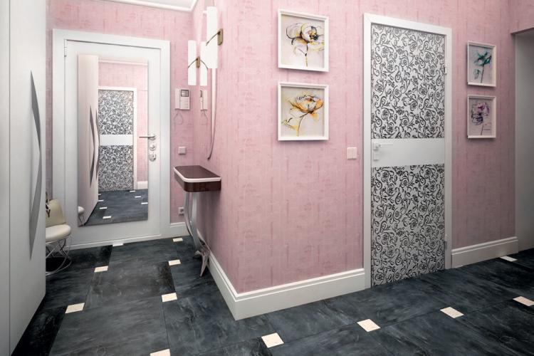 Розовая прихожая - Дизайн интерьера 2019