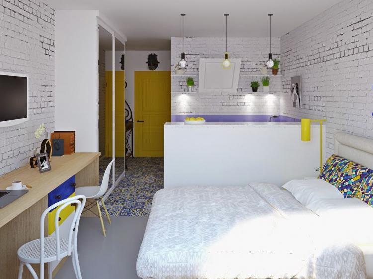 Дизайн-проект маленькой квартиры-студии, Сочи