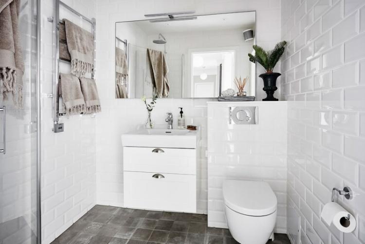 Совмещенный санузел в скандинавском стиле - Дизайн интерьера