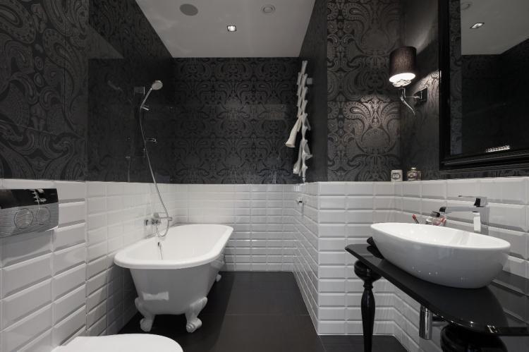 Совмещенный санузел в черном цвете - Дизайн интерьера