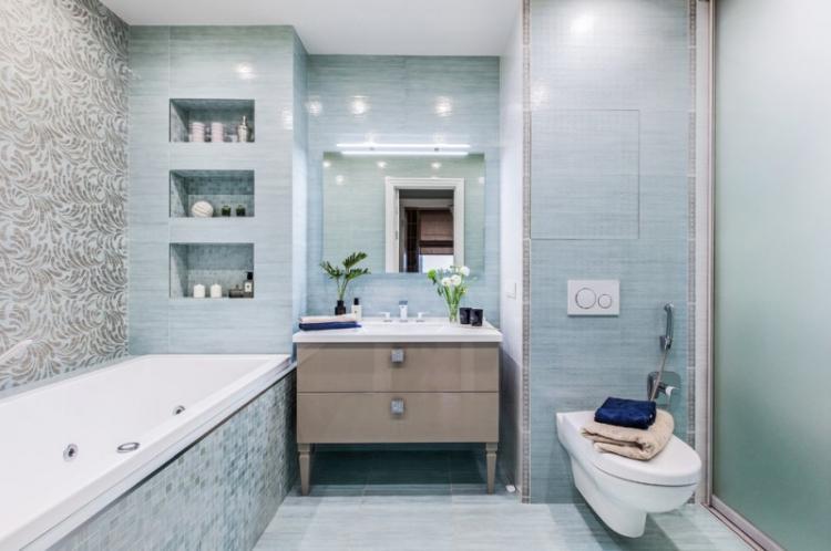 Синий совмещенный санузел - Дизайн интерьера