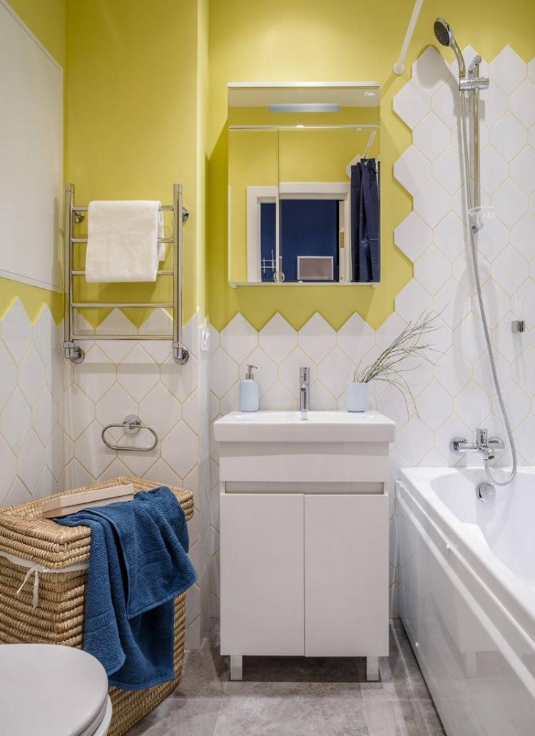 Совмещенный санузел в желтом цвете - Дизайн интерьера