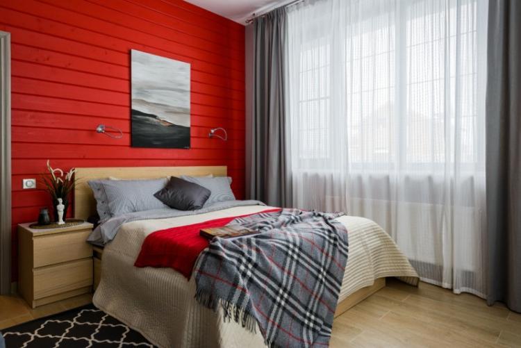 Красная спальня 10 кв.м. - Дизайн интерьера