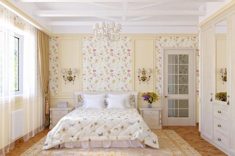 Спальня 12 кв.м. в стиле прованс - Дизайн интерьера