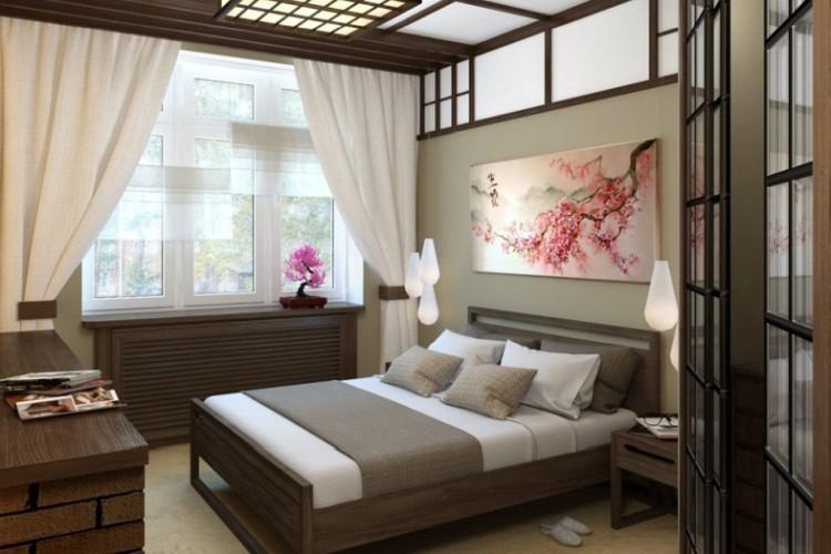 Спальня 12 кв.м. в японском стиле - Дизайн интерьера