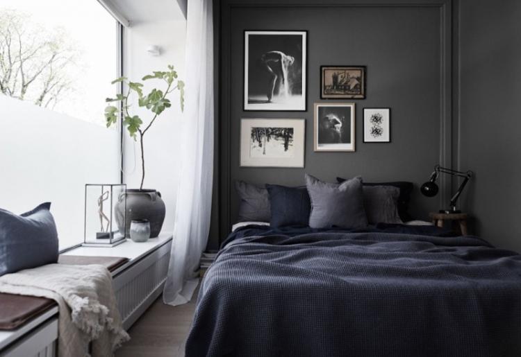 Черная спальня 12 кв.м. - Дизайн интерьера