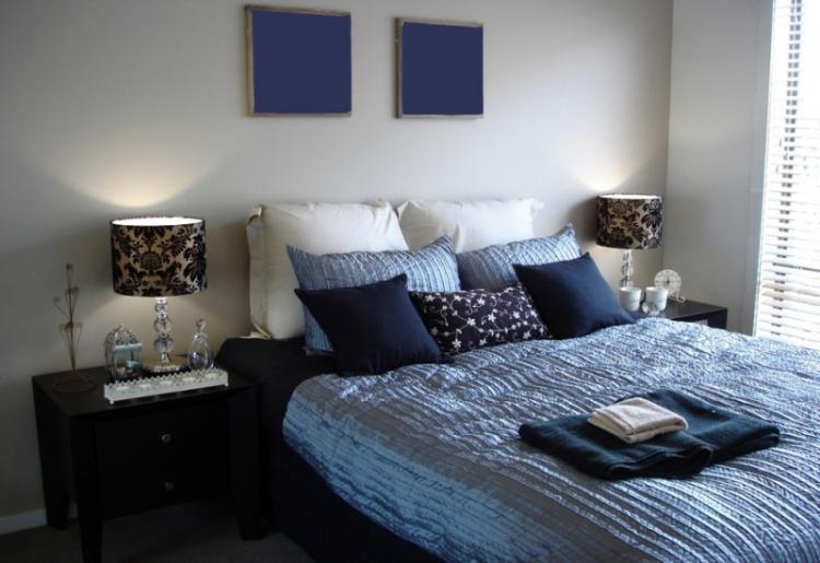 Синяя спальня 12 кв.м. - Дизайн интерьера