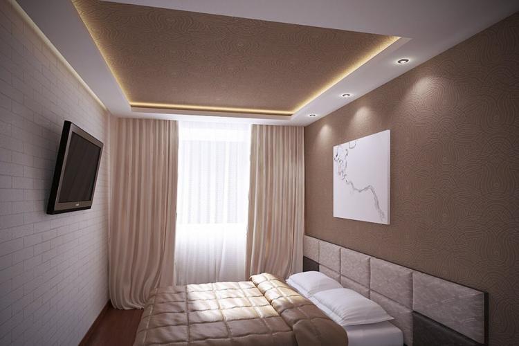 Отделка потолка - Дизайн спальни 12 кв.м.