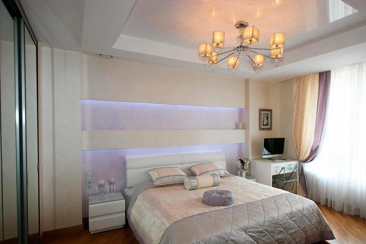Отделка потолка - Дизайн спальни 2019