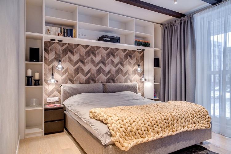Спальня 9 кв.м. в скандинавском стиле - Дизайн интерьера