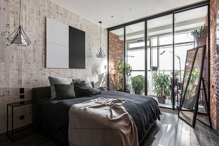Спальня 9 кв.м. в стиле лофт - Дизайн интерьера