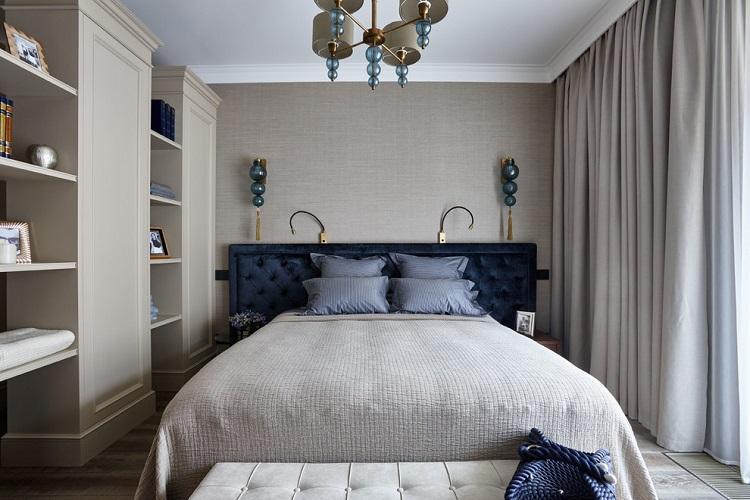 Серая спальня 9 кв.м. - Дизайн интерьера