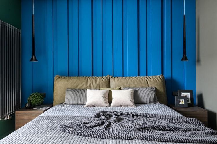 Синяя спальня 9 кв.м. - Дизайн интерьера