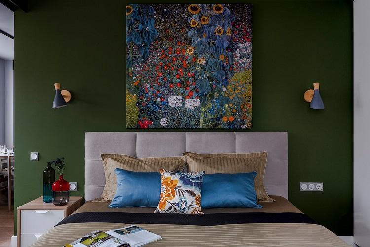Зеленая спальня 9 кв.м. - Дизайн интерьера