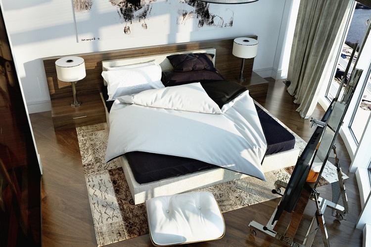 Отделка пола - Дизайн спальни 9 кв.м.