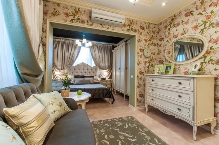 Спальня-гостиная в классическом стиле - Дизайн интерьера