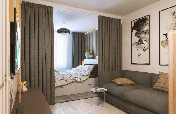 Шторы - Способы зонирования спальни-гостиной