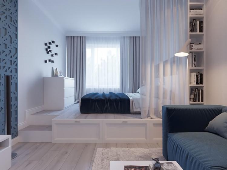 Подиум - Способы зонирования спальни-гостиной