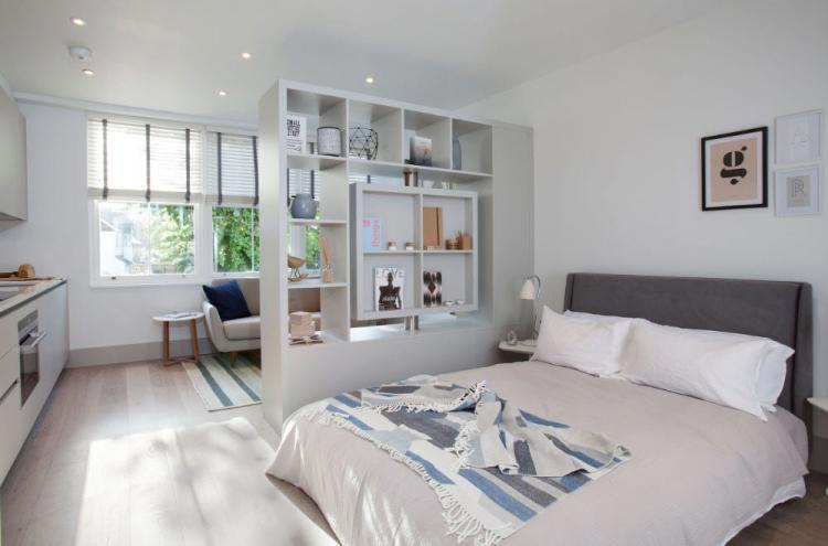 Однотонная отделка - Дизайн гостиной, совмещенной со спальней