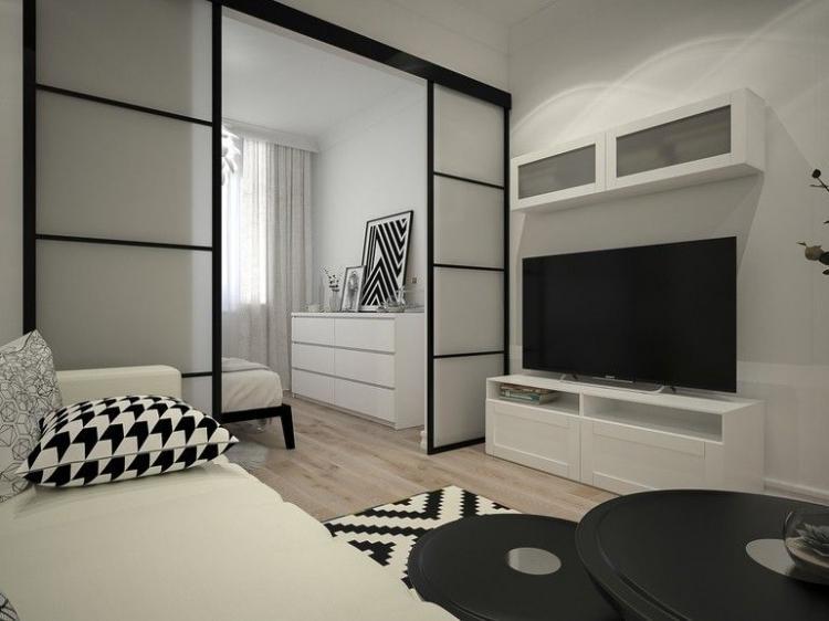 Контрастные акценты - Дизайн гостиной, совмещенной со спальней