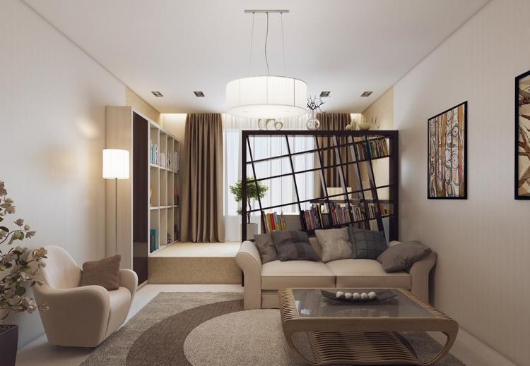 Соседние оттенки - Дизайн гостиной, совмещенной со спальней
