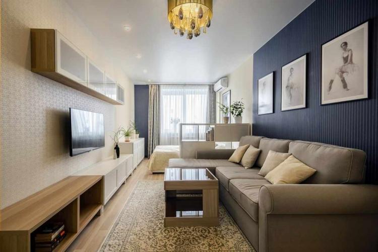 Нейтральная гамма - Дизайн гостиной, совмещенной со спальней