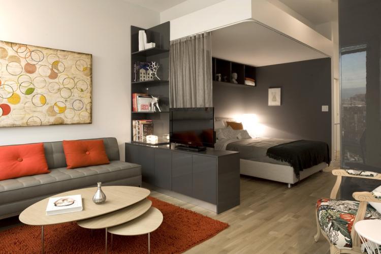 Отделка пола - Дизайн гостиной, совмещенной со спальней