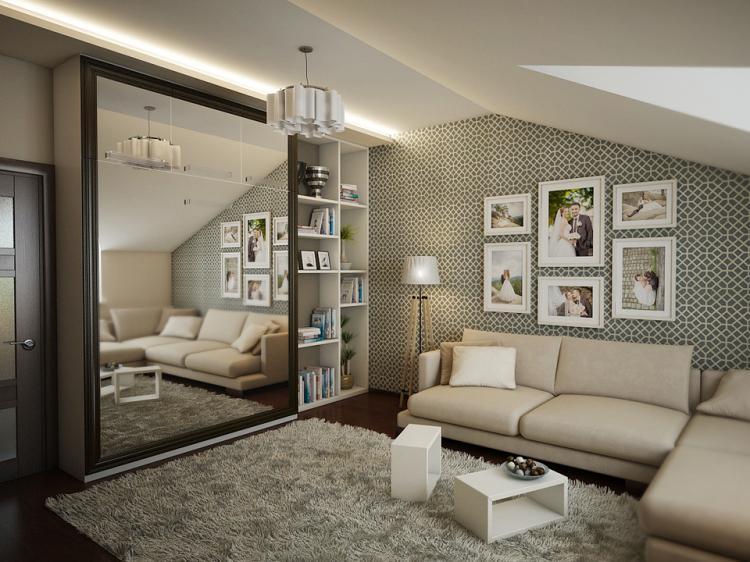 Отделка стен - Дизайн гостиной, совмещенной со спальней