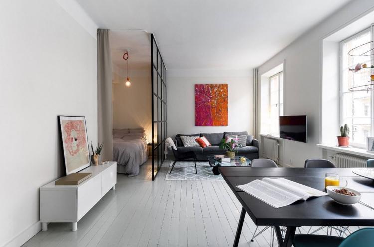 Отделка потолка - Дизайн гостиной, совмещенной со спальней