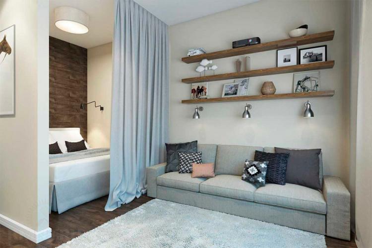 Текстиль - Дизайн гостиной, совмещенной со спальней