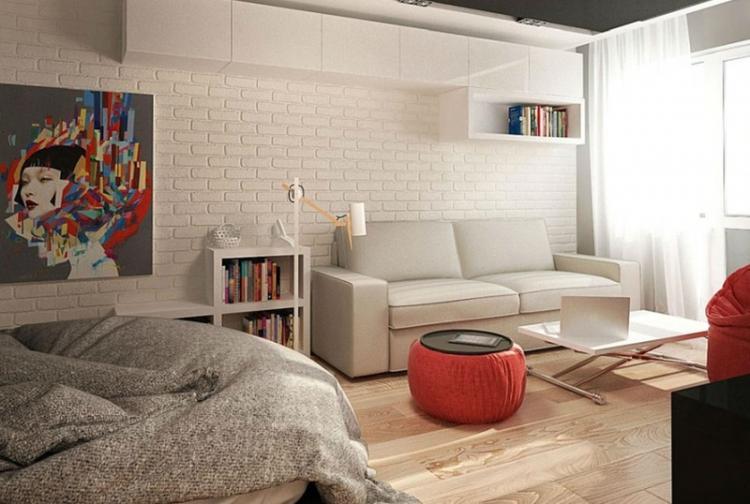 Маленькая гостиная, совмещенная со спальней - Дизайн интерьера