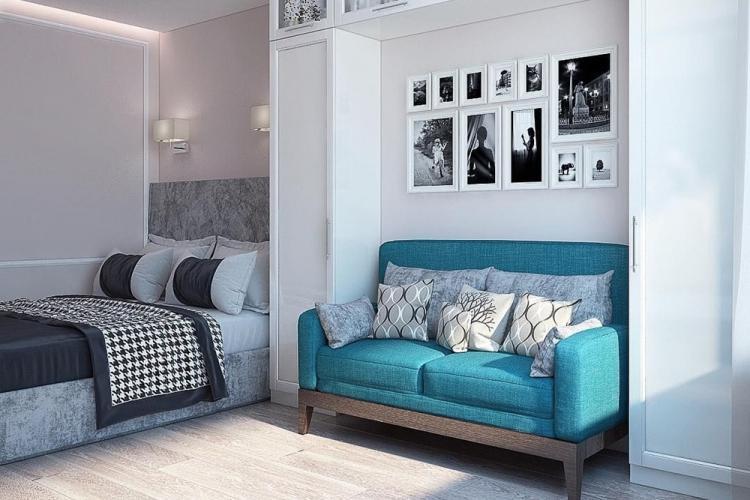 Гостиная, совмещенная со спальней - дизайн интерьера фото