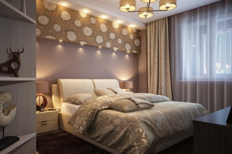 Отделка потолка - Дизайн спальни в хрущевке