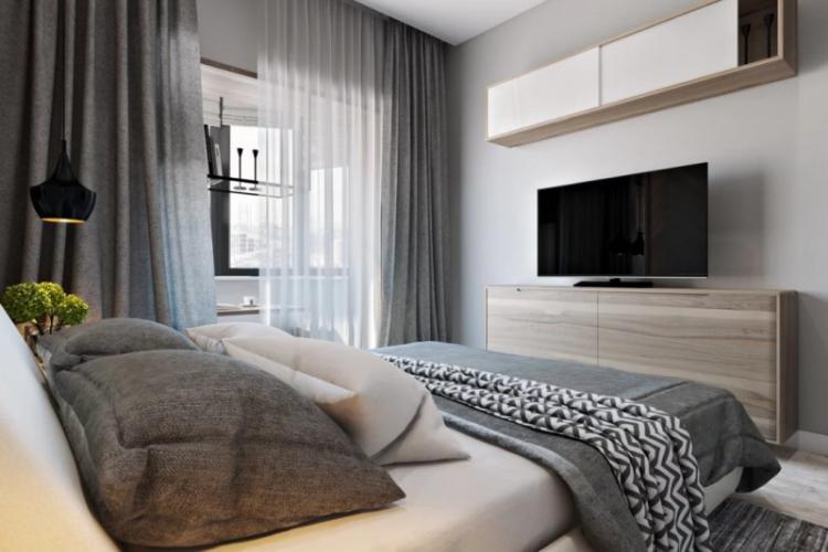 Серая спальня в хрущевке - Дизайн интерьера