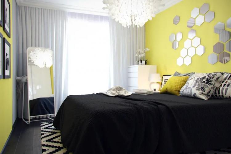 Желтая спальня в хрущевке - Дизайн интерьера