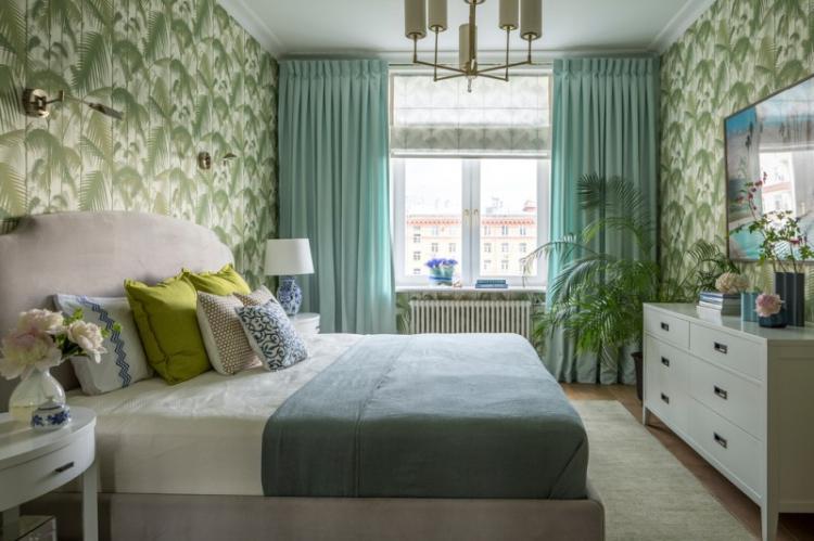 Зеленая спальня в хрущевке - Дизайн интерьера